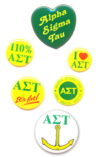 Alpha Sigma Tau Sorority Buttons 6-Pack