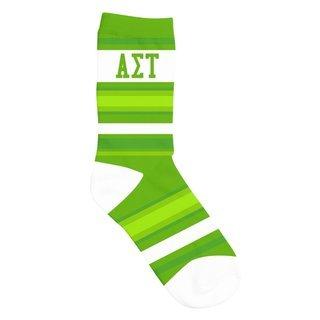 Alpha Sigma Tau Striped Crew Socks