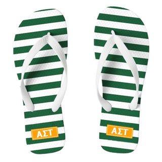 Alpha Sigma Tau Striped Flip Flops