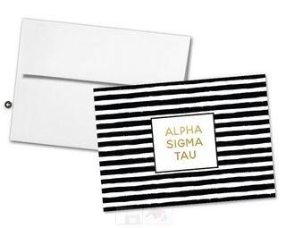 Alpha Sigma Tau Striped Notecards(6)
