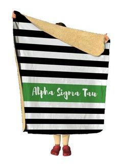Alpha Sigma Tau Stripes Sherpa Lap Blanket