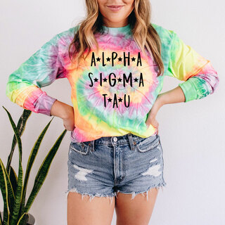 Alpha Sigma Tau Tie-Dye Minty Rainbow Long-Sleeve T-Shirt