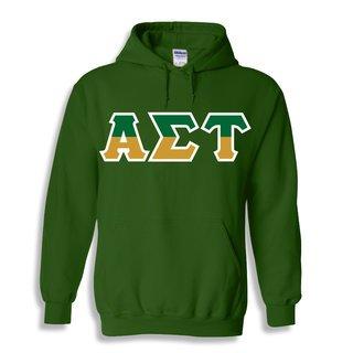 Alpha Sigma Tau Two Tone Greek Lettered Hooded Sweatshirt