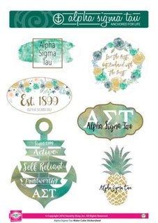 Alpha Sigma Tau Water Color Stickers