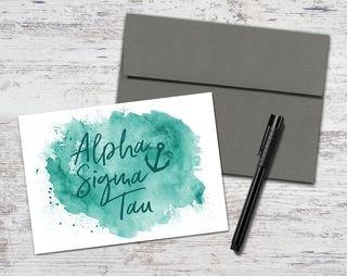 Alpha Sigma Tau Watercolor Script Notecards(6)