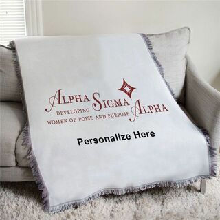 Alpha Sigma Alpha Women Of Poise and Purpose Afghan Blanket Throw