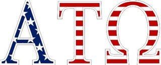 "Alpha Tau Omega American Flag Greek Letter Sticker - 2.5"" Tall"