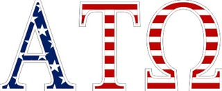 "Alpha Tau Omega American Flag Greek Letter Sticker - 2.5"" Tall"