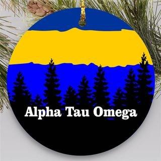 Alpha Tau Omega Christmas Mountains Round Ornaments