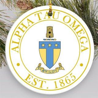 Alpha Tau Omega Circle Crest Round Ornaments
