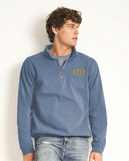 Alpha Tau Omega Comfort Colors Garment-Dyed Quarter Zip Sweatshirt