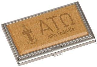 Alpha Tau Omega Crest Wood Business Card Holder