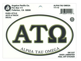 Alpha Tau Omega Euro Decal Oval Sticker