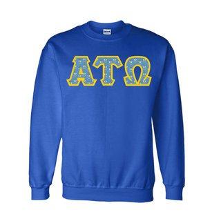 Alpha Tau Omega Fraternity Crest - Shield Twill Letter Crewneck Sweatshirt