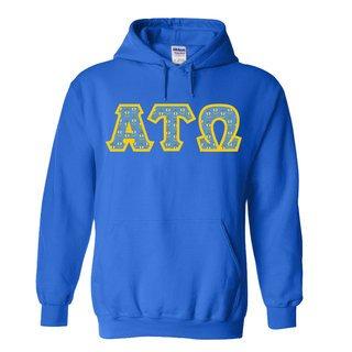 Alpha Tau Omega Fraternity Crest - Shield Twill Letter Hooded Sweatshirt