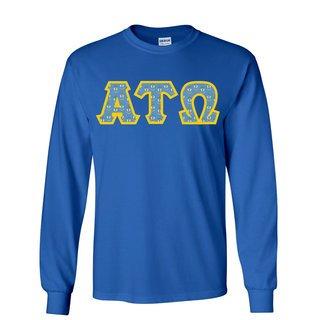Alpha Tau Omega Fraternity Crest - Shield Twill Letter Longsleeve Tee