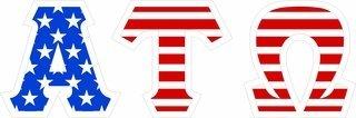 "Alpha Tau Omega Giant 4"" American Flag Greek Letter Sticker"