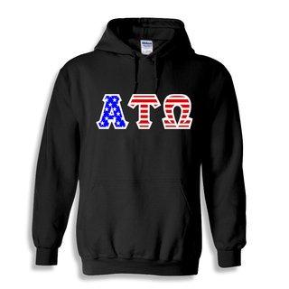 DISCOUNT-Alpha Tau Omega Greek Letter American Flag Hoodie