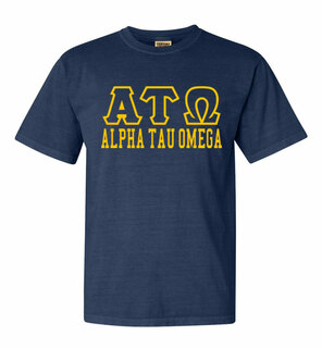 Alpha Tau Omega Greek Outline Comfort Colors Heavyweight T-Shirt