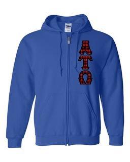 "Alpha Tau Omega Heavy Full-Zip Hooded Sweatshirt - 3"" Letters!"