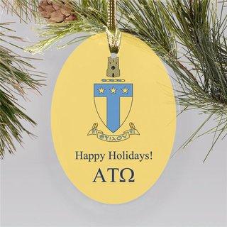 Alpha Tau Omega Holiday Color Crest - Shield Ornament