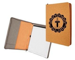Alpha Tau Omega Leatherette Zipper Portfolio with Notepad