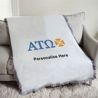 Alpha Tau Omega Letters Afghan Blanket Throw