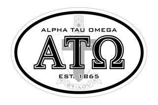 Alpha Tau Omega Oval Crest - Shield Bumper Sticker - CLOSEOUT