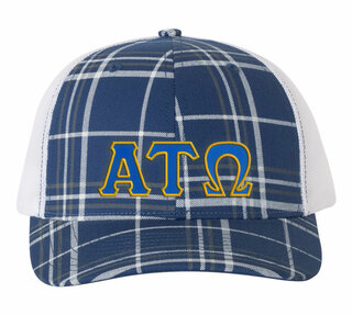 Alpha Tau Omega Plaid Snapback Trucker Hat - CLOSEOUT