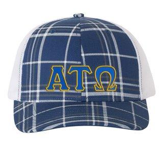 Alpha Tau Omega Plaid Snapback Trucker Hat