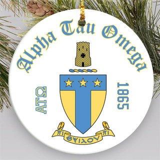 Alpha Tau Omega Round Christmas Shield Ornament