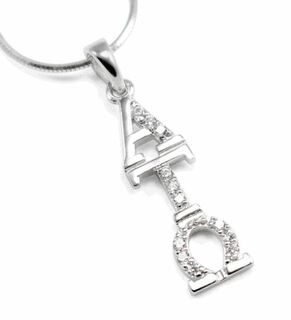 Alpha Tau Omega Sterling Silver Lavaliere with simulated diamonds