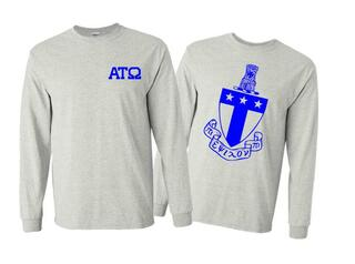Alpha Tau Omega World Famous Crest - Shield Long Sleeve T-Shirt- $19.95!