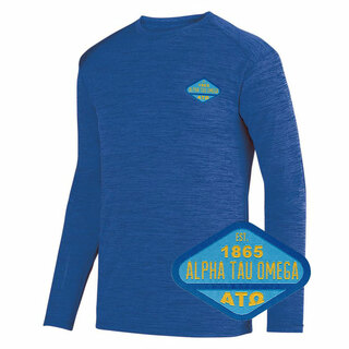DISCOUNT-Alpha Tau Omega Woven Emblem Greek Dry Fit Tonal Long Sleeve Tee