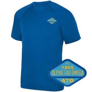 DISCOUNT-Alpha Tau Omega Woven Emblem Greek Dry Fit Wicking Tee