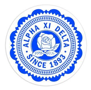 "Alpha Xi Delta 5"" Sorority Seal Bumper Sticker"