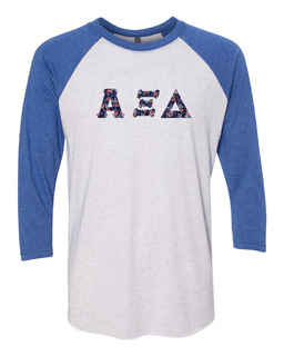 Alpha Xi Delta Unisex Tri-Blend Three-Quarter Sleeve Baseball Raglan Tee