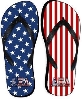Alpha Xi Delta American Flag Flip Flops