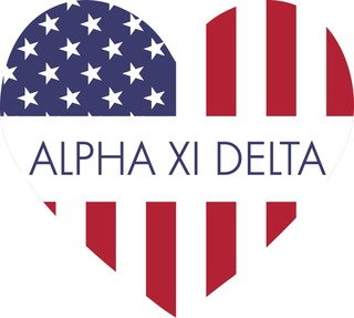 Alpha Xi Delta American Flag Greek Heart Shaped Decal