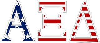 """Alpha Xi Delta American Flag Greek Letter Sticker - 2.5"""" Tall"""