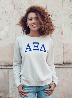 Alpha Xi Delta Arched Greek Lettered Crewneck Sweatshirt