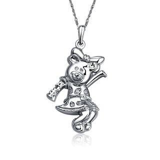 Alpha Xi Delta Bear Mascot Silver Lavalier