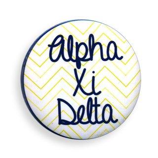 Alpha Xi Delta Chevron Script Button