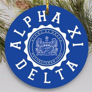 Alpha Xi Delta Round Christmas Shield Ornament