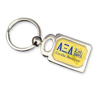 Alpha Xi Delta Chrome Crest Key Chain