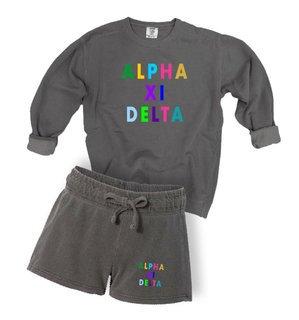 Alpha Xi Delta Comfort Colors Crew and Short Set