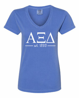 Alpha Xi Delta Comfort Colors Est. V-Neck T-Shirt