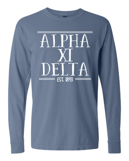 Alpha Xi Delta Comfort Colors Custom Long Sleeve T-Shirt