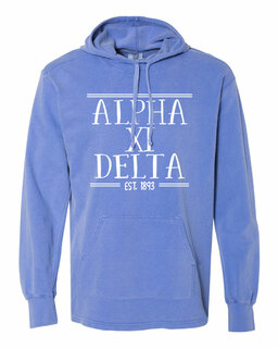 Alpha Xi Delta Comfort Colors Terry Scuba Neck Custom Hooded Pullover
