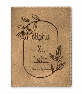 Alpha Xi Delta Cork Portfolio with Notepad